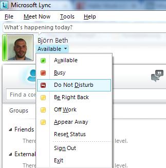 Microsoft Lync auf nicht stören setzen