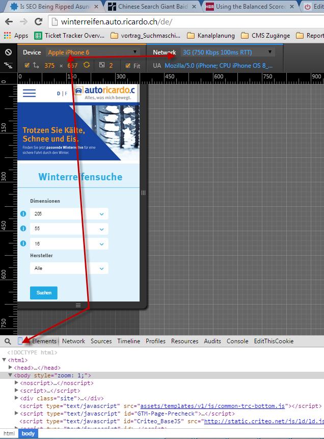 Ueber das kleine Mobile Symbol in den Entwicklertools kann die Screenansicht geändert werden