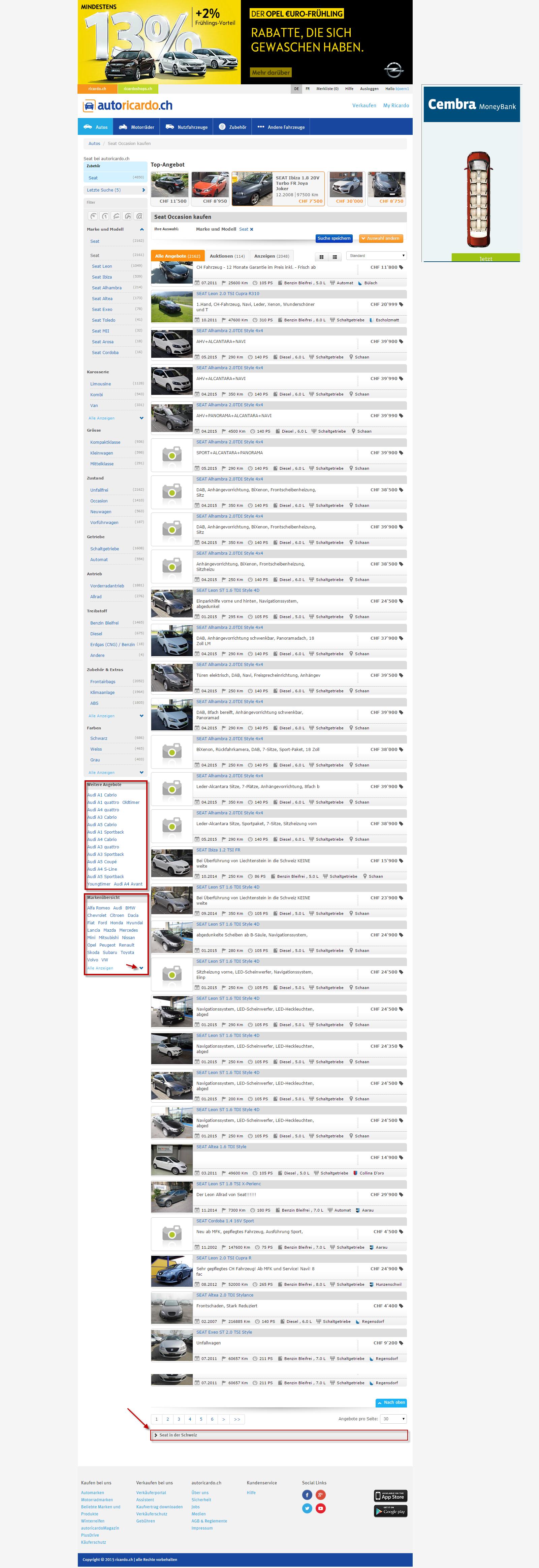 screenshot einer Markenseite von autoricardo