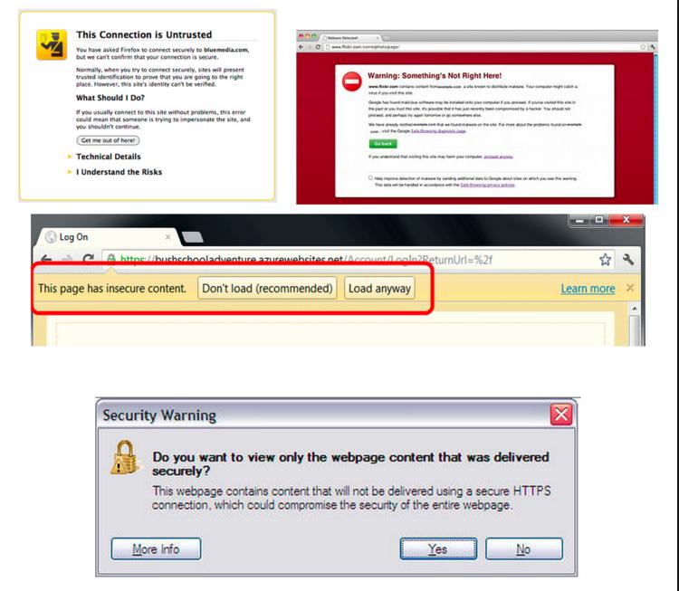 Verschiedene Browser Meldungen über unsicheren Content auf einer https domain