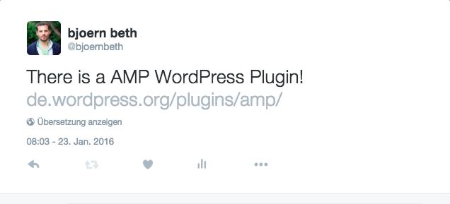 Google AMP Tweet von Björn Beth