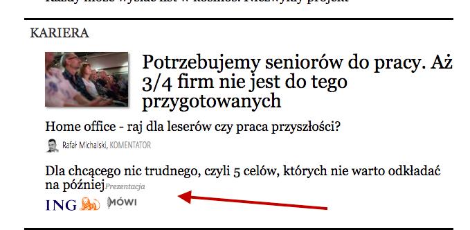 Native Ad der DIBA Bank auf der Homepage von Forbes.pl