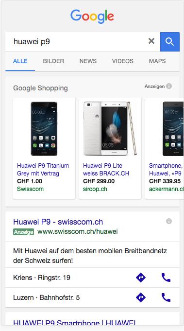 Huawei P9 Google Suchresultat auf dem iPhone 6