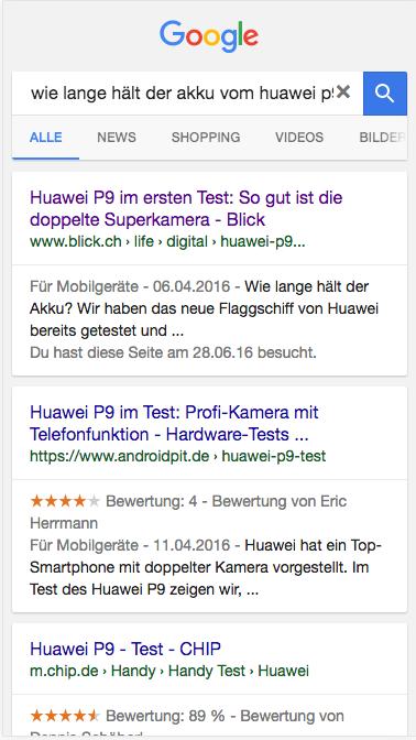 W-Frage zum Huawei p9 im google suchresultat