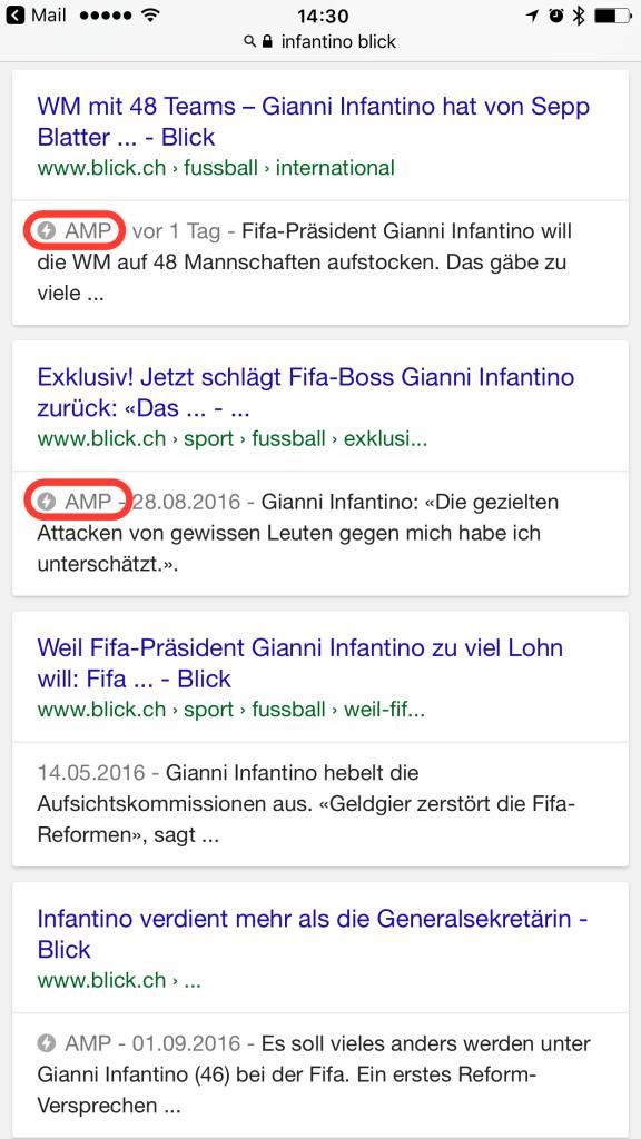 Google AMP Ergebnis in den normalen Suchresultaten für das Keyword Infantino