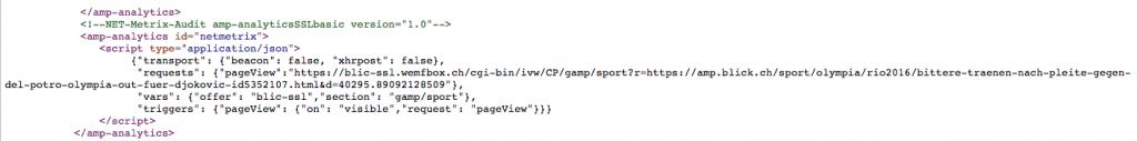 amp ad script implementation auf blick für netmetrix