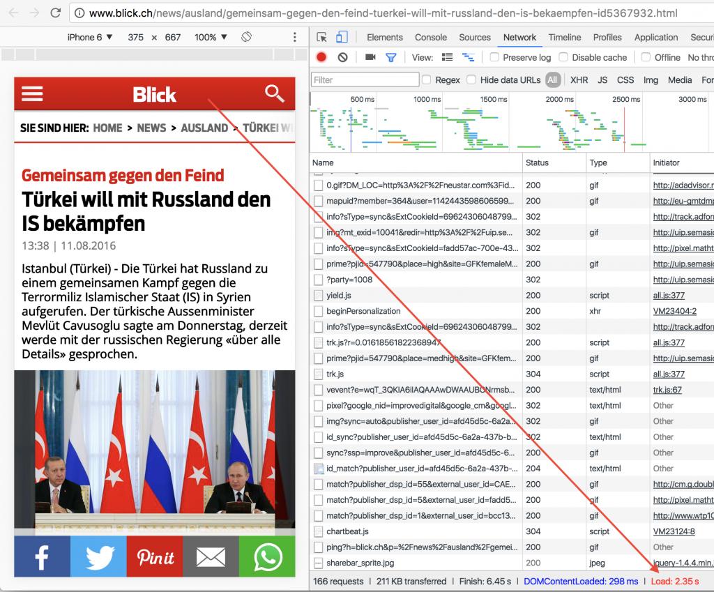 Seitenladezeit mit Chrome Entwicklertools beim blick.ch
