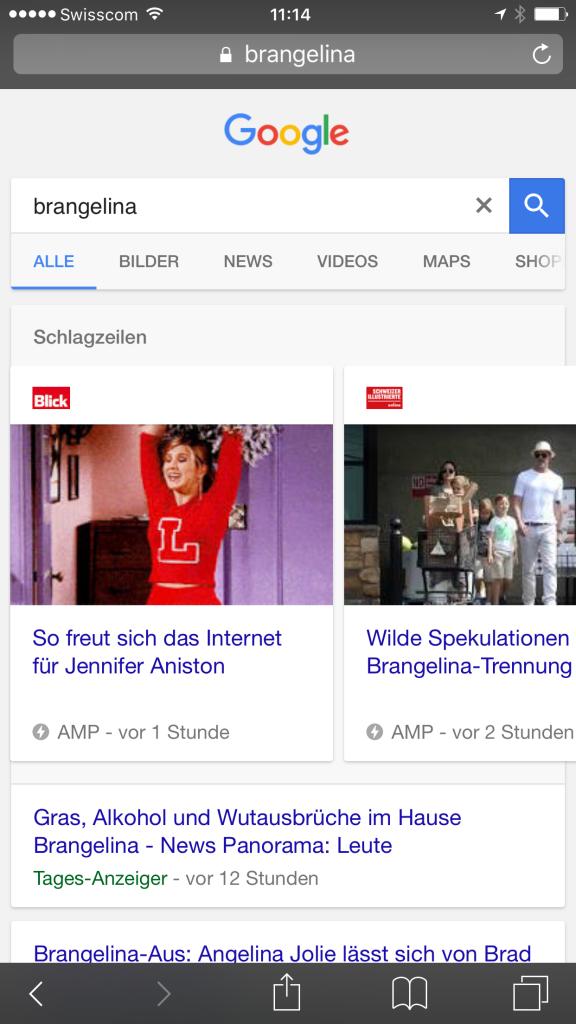 """AMP Suchresultat für Keyword """"Brangelina"""" in google.ch"""