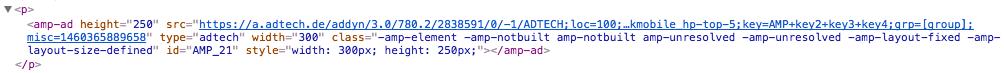 Werbeeinbindung auf Google Amp auf Blick.ch