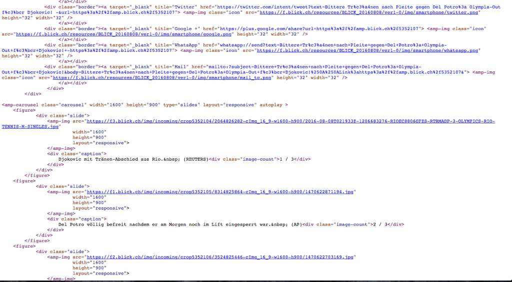 Blick.ch auf Google AmP in HTTPS
